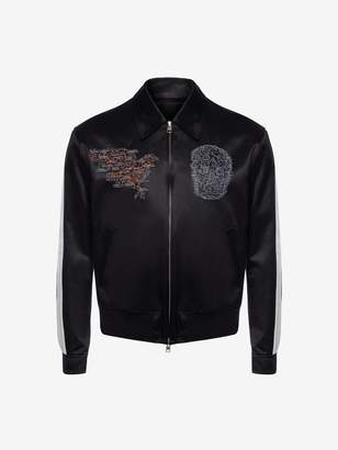 Alexander McQueen Embroidered Skull Map Bomber Jacket