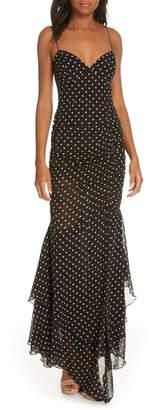 Nicholas Polka Dot Ruched Silk Dress