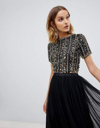 Lace and Beads Lace & Beads embellished crop top in multi black sequin