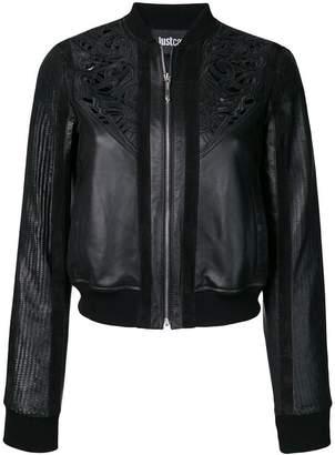 Just Cavalli embossed detail leather bomber jacket