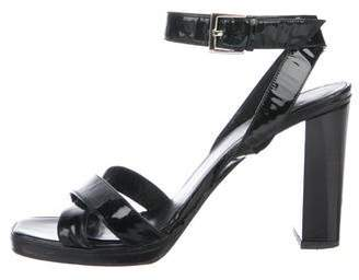 Gucci Patent Leather Crossover Sandals