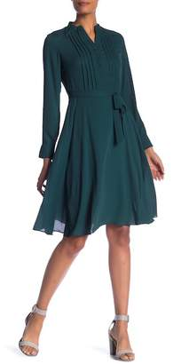 Nanette Lepore Long Sleeve Front Pleat Waist Tie Dress