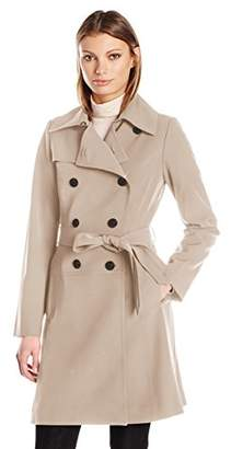 Diane von Furstenberg Women's Ronnie Skirted Bottom Double Breasted Trench Coat
