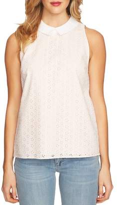 CeCe Eyelet Peter Pan Collar Sleeveless Cotton Blouse