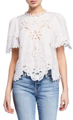Rebecca Taylor Terri Embroidered Short-Sleeve Top
