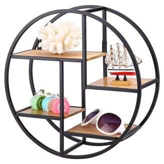 HURRISE Metal Round Wall Shelf with 4 Little Wood Shelves as Display Rack Storage Unit for Living Room Bedroom Bathroom Vintage Decorative Display Design