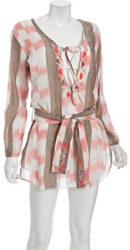 Letarte pink ikat stripe cotton belted tunic coverup