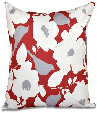 E By Design Mod floral 16 Inch Coral and Gray Decorative Floral Throw Pillow