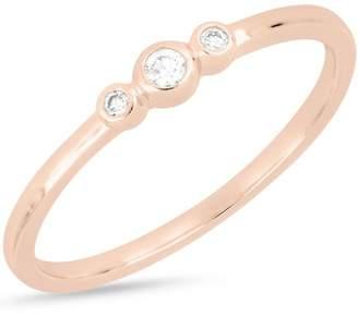 Bony Levy 18K Rose Gold Bezel 3 Diamond Ring - 0.05 ctw