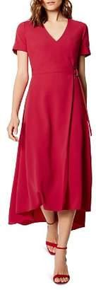 Karen Millen Lace-Up Back Faux-Wrap Dress