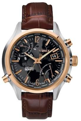 Timex Men's IQ World Time Analog Quartz Watch, 44mm