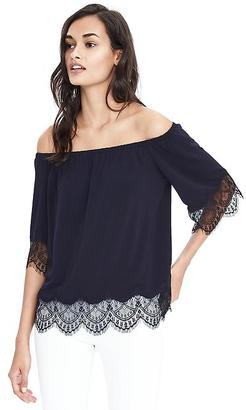 Long-Sleeve Lace Trim Top $58 thestylecure.com
