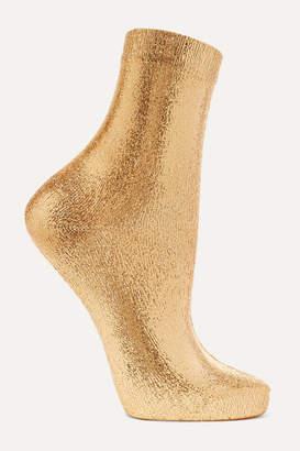 Maria La Rosa Metallic Coated Silk-blend Socks - Gold