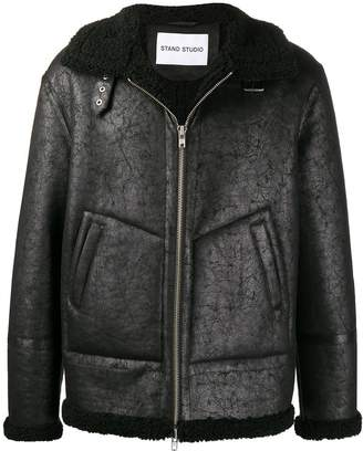 STAND STUDIO faux-shearling trim jacket