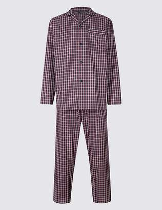 Marks and Spencer Cotton Blend Checked Pyjama Set