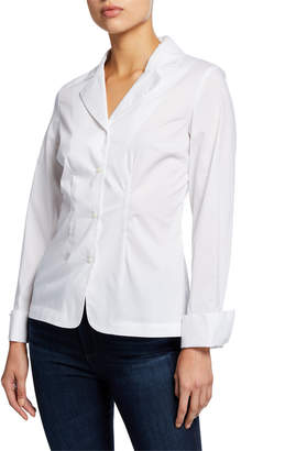 383a1000 Neiman Marcus Notched Collar Button-Down Fitted Shirt