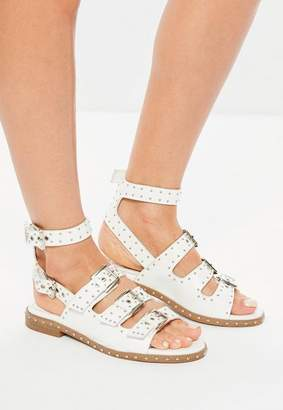 Missguided White Studded Buckle Sandals