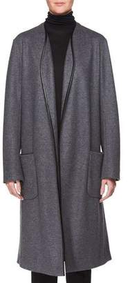 The Row Elisand Open-Front Heathered Wool Coat with Leather Trim