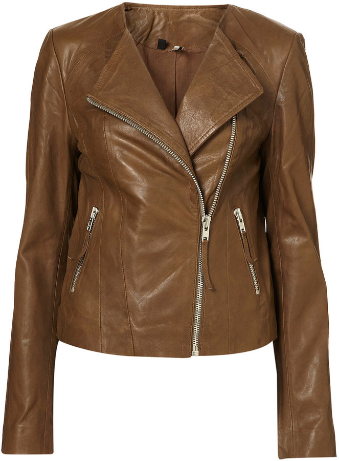 Collarless Soft Leather Biker Jacket