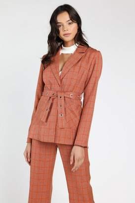 Honey Punch **Amber Plaid Jacket