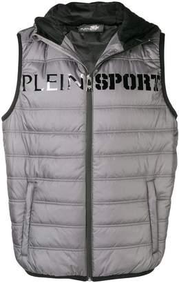 Plein Sport logo print puffer vest