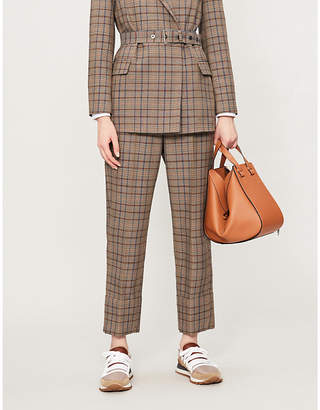 Brunello Cucinelli Prince of Wales checked wool and cotton-blend trousers
