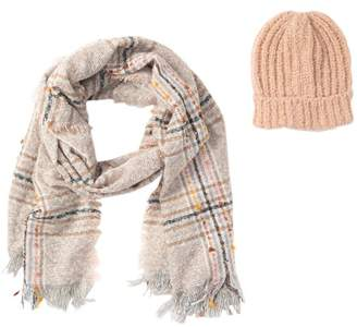 Steve Madden Harvest Plaid Blanket Wrap Scarf & Beanie Set