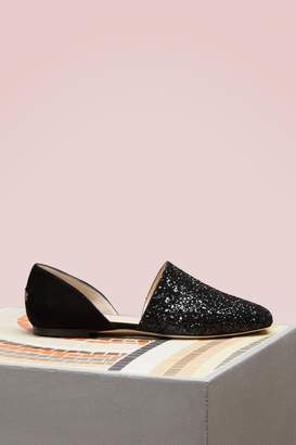 Jimmy Choo Globe suede and glitter loafers