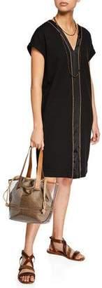 Brunello Cucinelli Felpa Cap-Sleeve Monili Beaded Satin-Stripe Dress