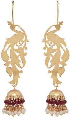 Carousel Jewels - Gold Peacock & Garnet Chandelier Statement Earrings