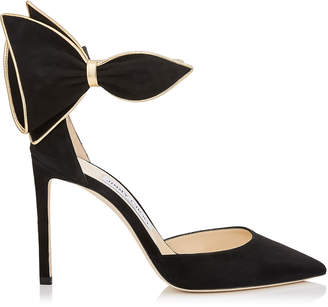Jimmy Choo KELLEY 100 Black Suede Pointy Toe Pumps with Gold Metallic Nappa Leather Piping