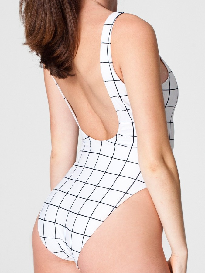American Apparel Grid Print Malibu Swimsuit