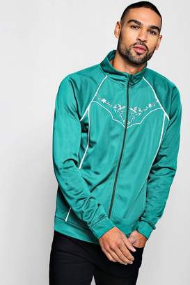 boohoo Tricot Piped Embroidered Track Top