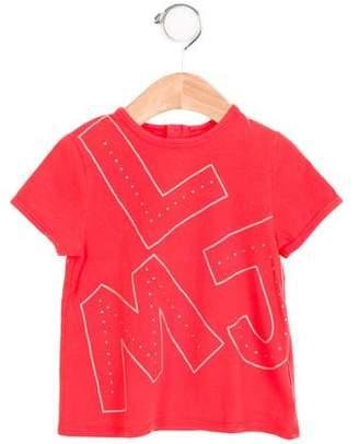 Little Marc Jacobs Girls' Embellished Logo Print Top