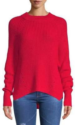 Lord & Taylor High-Low Pullover Sweater with Pointelle Detail