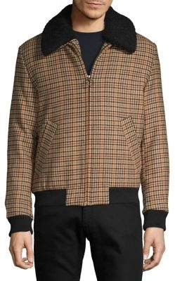 Selected Faux-Shearling Collar Plaid Bomber Jacket