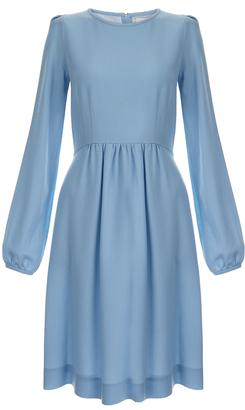 Goat Baylee Blue Wool-Crepe Dress