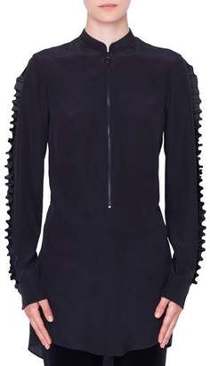 Akris Punto Ruffled Mock-Neck & Sleeves Front-Zip Silk Blouse