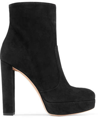 Gianvito Rossi Brook 120 Suede Platform Ankle Boots - Black
