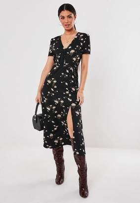 Missguided Black Floral Button Belt Midi Dress, Black