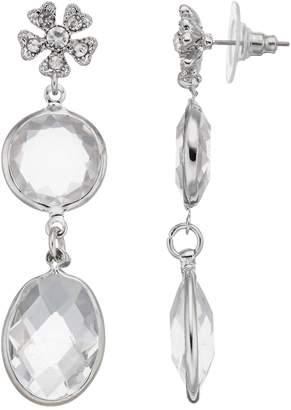 Lauren Conrad Simulated Crystal Flower Nickel Free Drop Earrings