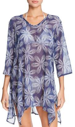 J Valdi Bloom V-Neck Sharkbite Tunic Swim Cover-Up