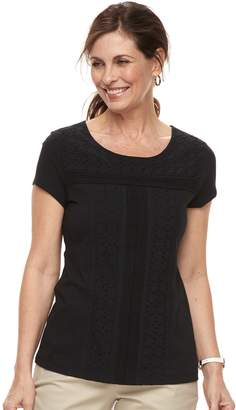 Croft & Barrow Women's Eyelet Tee
