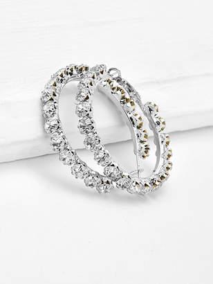 Shein Rhinestone Delicate Hoop Earrings