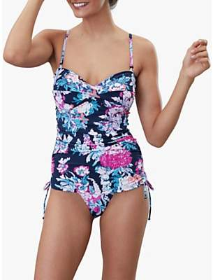 Joules Delphine Ruched Front Tie Side Swimsuit, Navy Floral