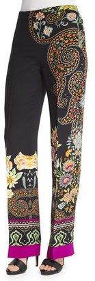 Etro Largo Scroll-Border Pants, Black $1,115 thestylecure.com