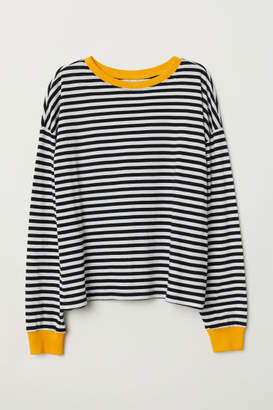 H&M Striped Jersey Top - Black