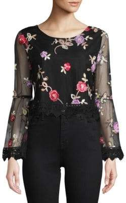 BB Dakota Annastasia Floral Bell-Sleeve Blouse