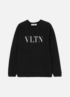 Valentino Printed Cotton-terry Sweatshirt - Black