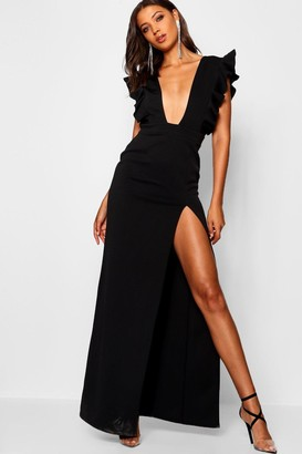 c7e358063d738 boohoo Tall Ruffle Plunge Split Leg Maxi Dress